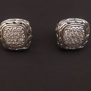 John Hardy Classic Chain Diamond Pave Earrings